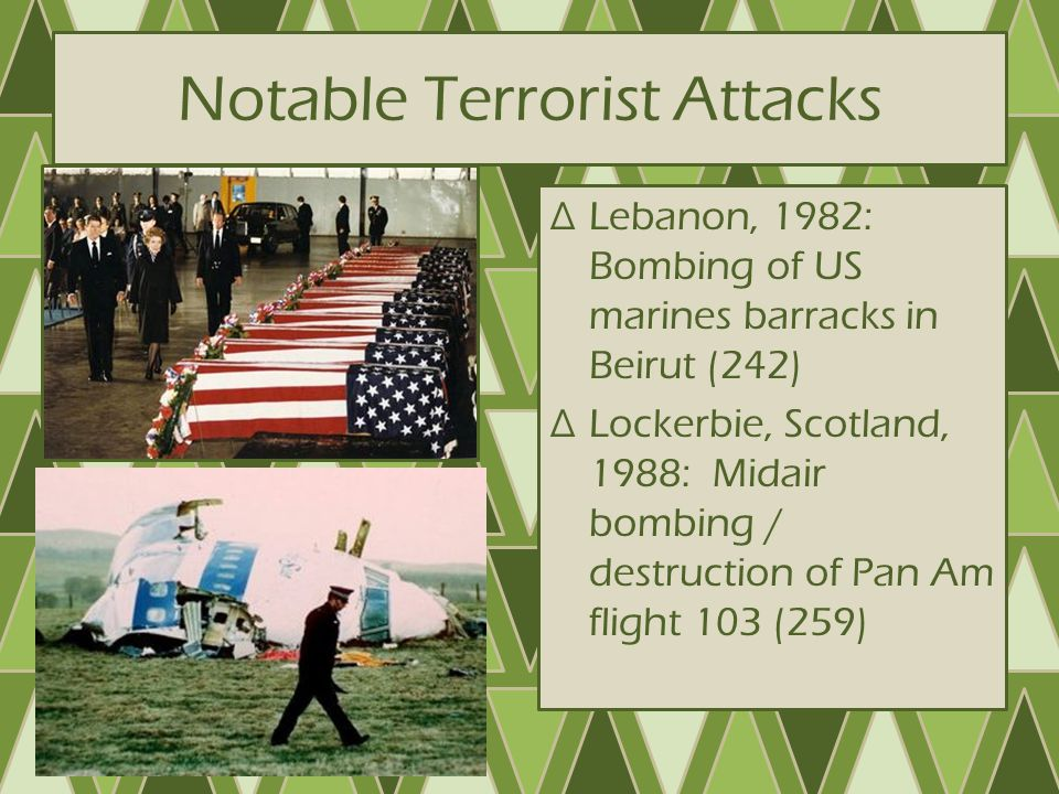 Notable Terrorist Attacks ∆1989: Ayatollah Khomeni issued Fatwa (decree) ordering death of Salman Rushdie – Rushdie went into hiding – Fatwa triggered worldwide attacks on bookstores, newsstands, etc