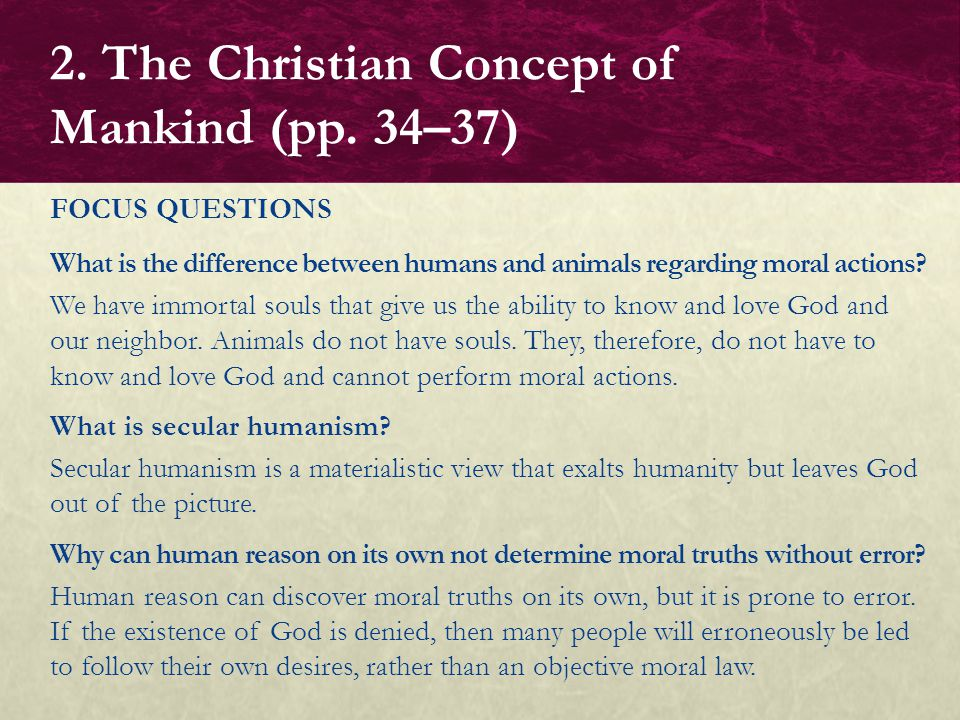 What is the difference between humans and animals regarding moral actions? We have immortal souls that give us the ability to know and love God and ou