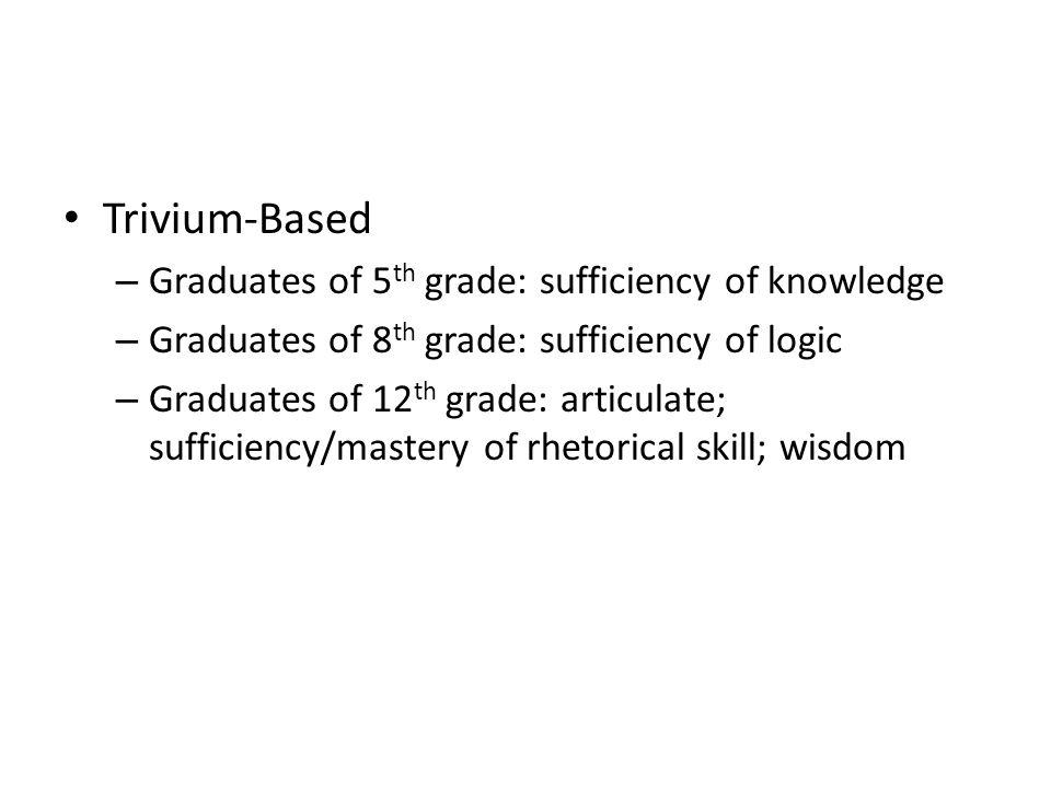 Trivium-Based – Graduates of 5 th grade: sufficiency of knowledge – Graduates of 8 th grade: sufficiency of logic – Graduates of 12 th grade: articulate; sufficiency/mastery of rhetorical skill; wisdom