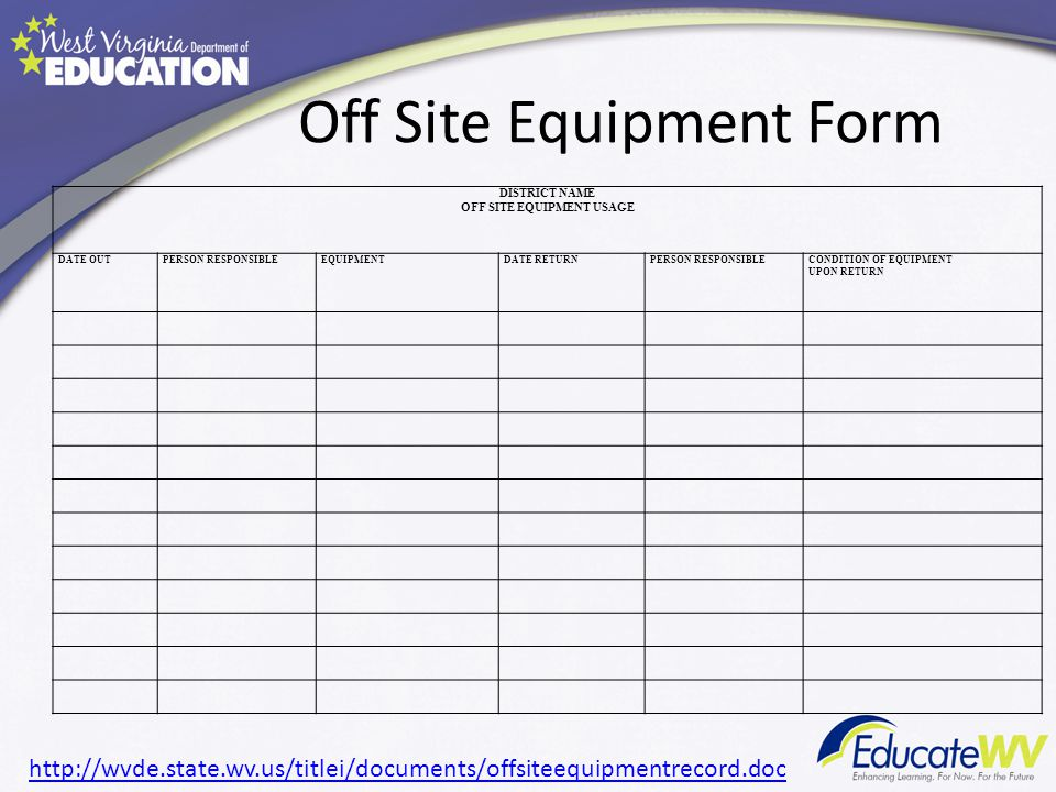 Off Site Equipment Form DISTRICT NAME OFF SITE EQUIPMENT USAGE DATE OUTPERSON RESPONSIBLEEQUIPMENTDATE RETURNPERSON RESPONSIBLECONDITION OF EQUIPMENT UPON RETURN http://wvde.state.wv.us/titlei/documents/offsiteequipmentrecord.doc