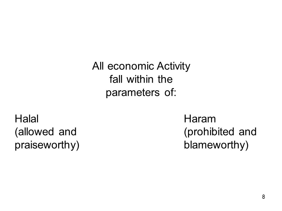 8 All economic Activity fall within the parameters of: HalalHaram (allowed and(prohibited and praiseworthy)blameworthy)