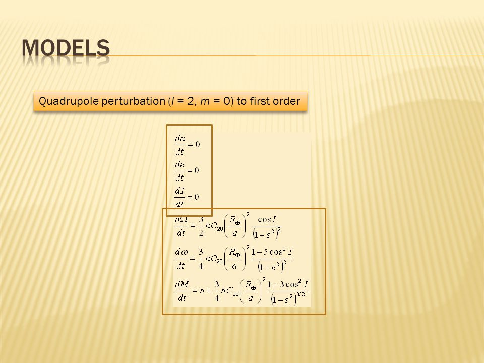 Quadrupole perturbation (l = 2, m = 0) to first order