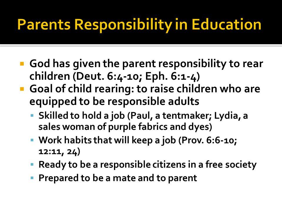  God has given the parent responsibility to rear children (Deut.