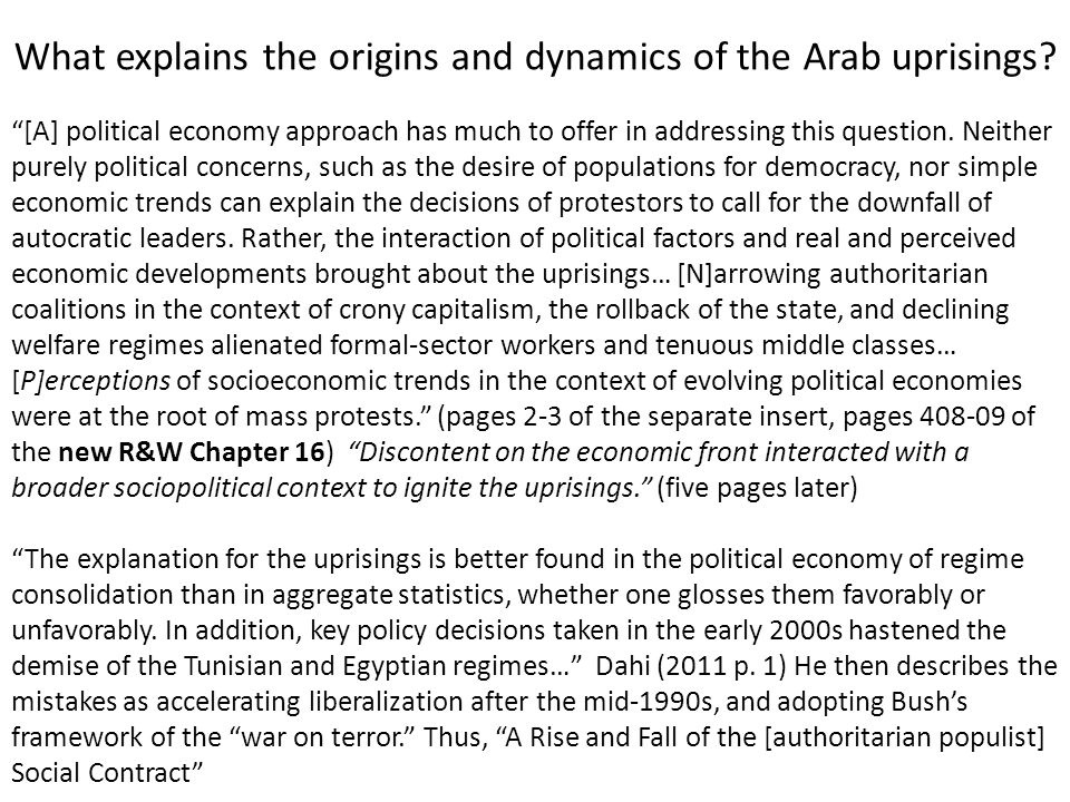 What explains the origins and dynamics of the Arab uprisings.