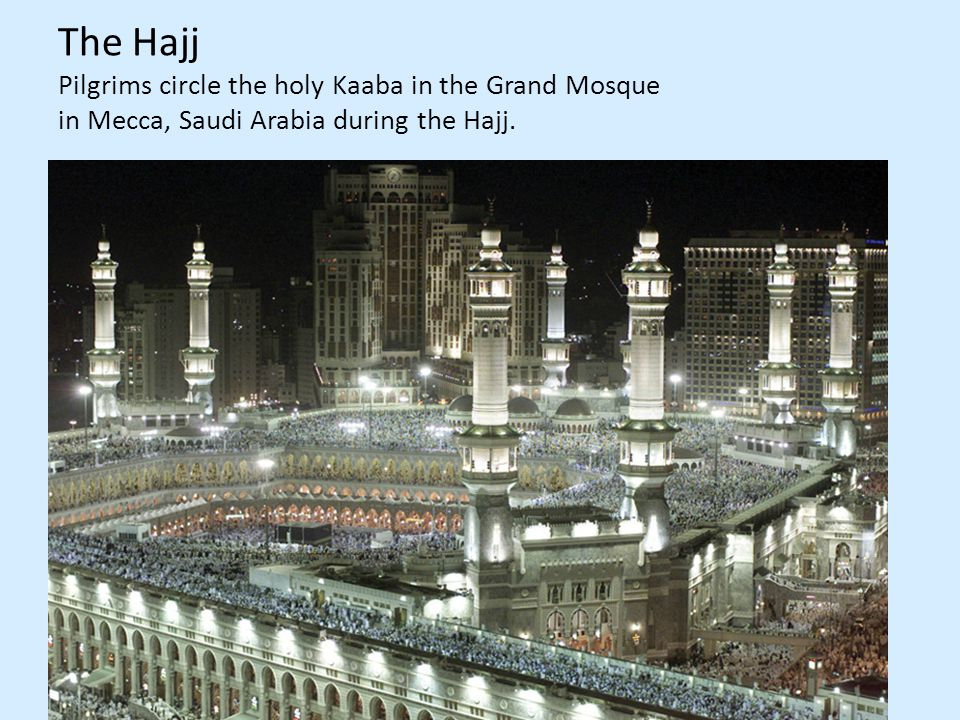 The Hajj Pilgrims circle the holy Kaaba in the Grand Mosque in Mecca, Saudi Arabia during the Hajj.