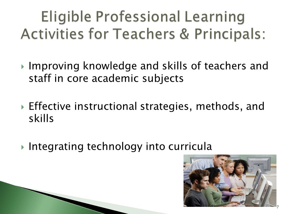  Improving knowledge and skills of teachers and staff in core academic subjects  Effective instructional strategies, methods, and skills  Integrating technology into curricula 7