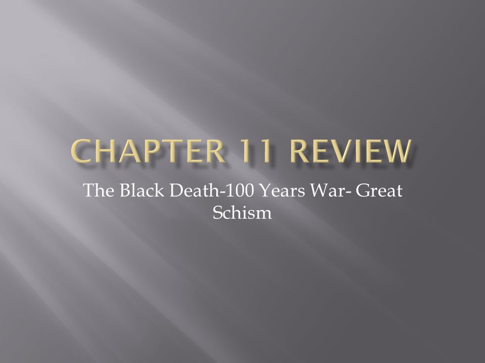 The Black Death-100 Years War- Great Schism