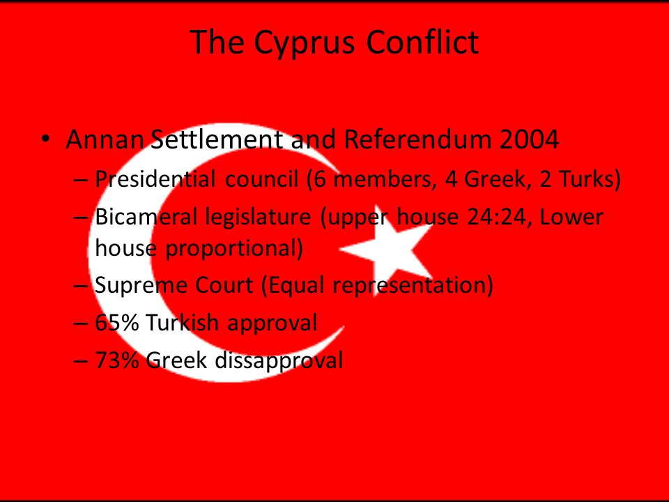 The Cyprus Conflict Annan Settlement and Referendum 2004 – Presidential council (6 members, 4 Greek, 2 Turks) – Bicameral legislature (upper house 24:24, Lower house proportional) – Supreme Court (Equal representation) – 65% Turkish approval – 73% Greek dissapproval