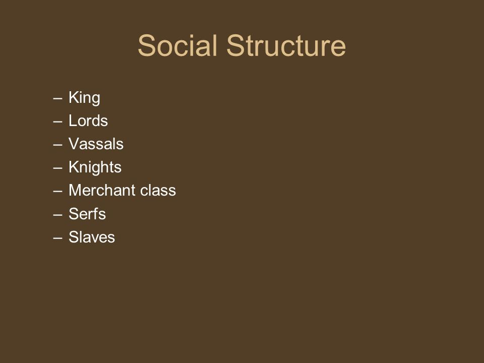 Society of the Middle Ages Society was organized into a social pyramid based on a feudal system (which was imported from France). A feudal society is