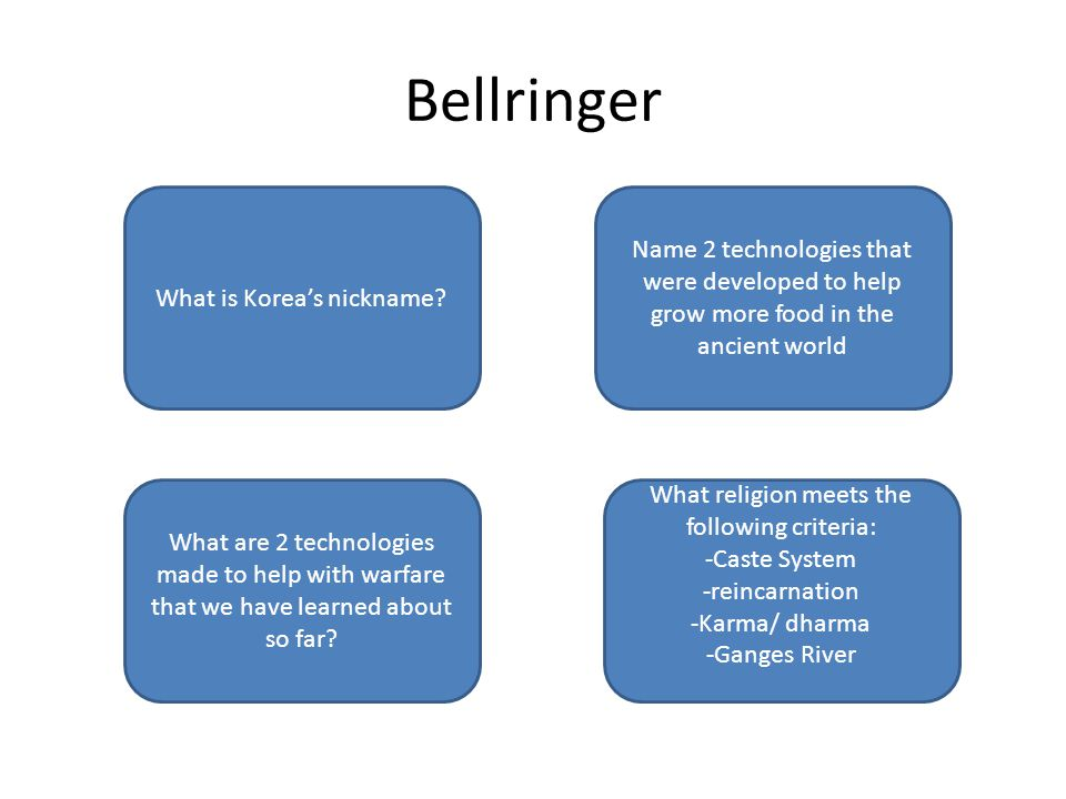 HinduismBow and arrow Stirrups Cannons/ gunpowder Curved swords Irrigation, terrace farming Shaduf, Chinampas Shrimp among the whales Cultural Bridge Bellringer What is Korea's nickname.