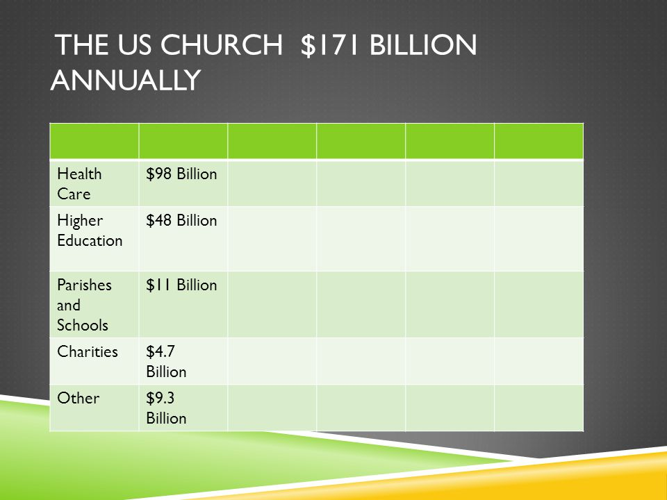 THE US CHURCH $171 BILLION ANNUALLY Health Care $98 Billion Higher Education $48 Billion Parishes and Schools $11 Billion Charities$4.7 Billion Other$9.3 Billion