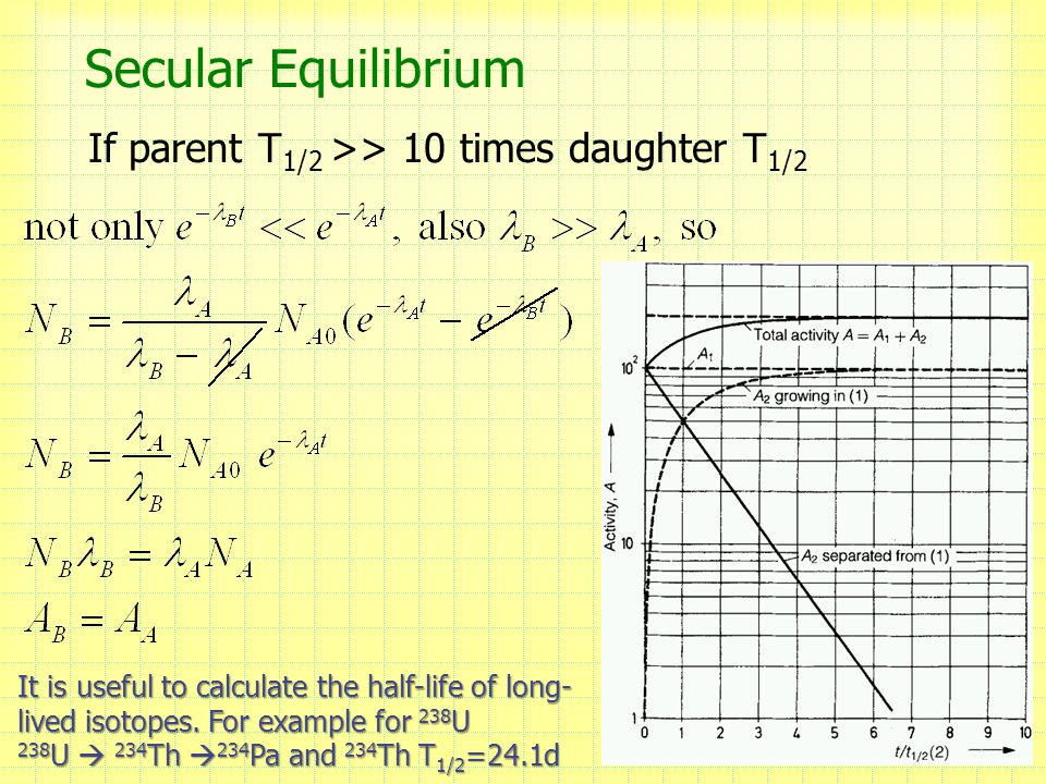 Secular Equilibrium If parent T 1/2 >> 10 times daughter T 1/2 7 It is useful to calculate the half-life of long- lived isotopes.