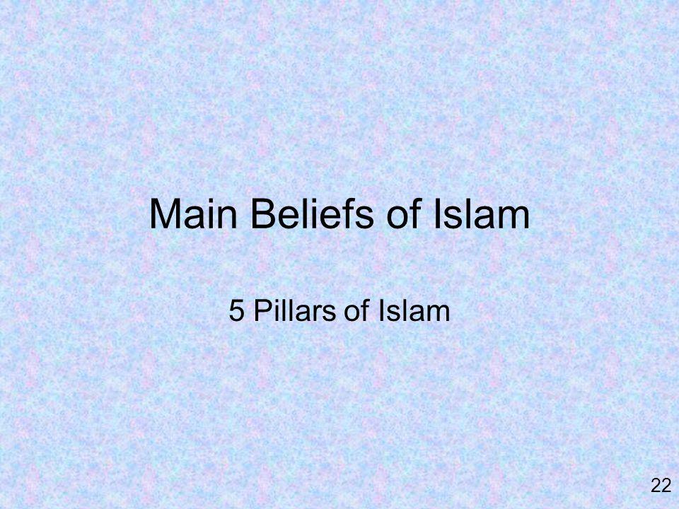 Main Beliefs of Islam 5 Pillars of Islam 22
