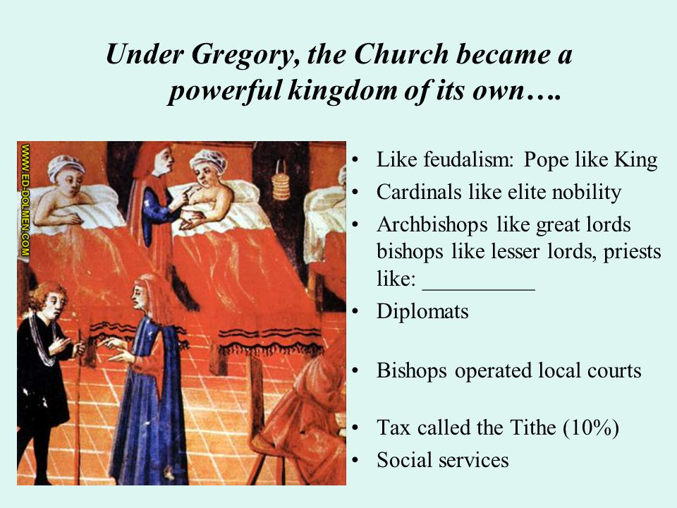 Under Gregory, the Church became a powerful kingdom of its own…. Like feudalism: Pope like King Cardinals like elite nobility Archbishops like great l