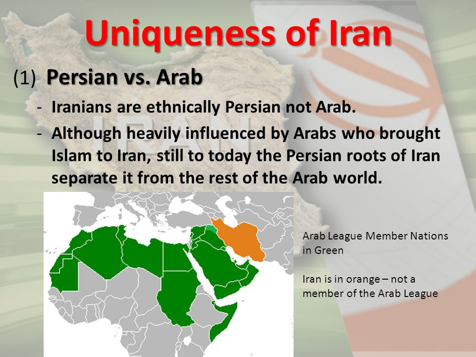 Persian vs. Arab (1) Persian vs. Arab -Iranians are ethnically Persian not Arab. -Although heavily influenced by Arabs who brought Islam to Iran, stil