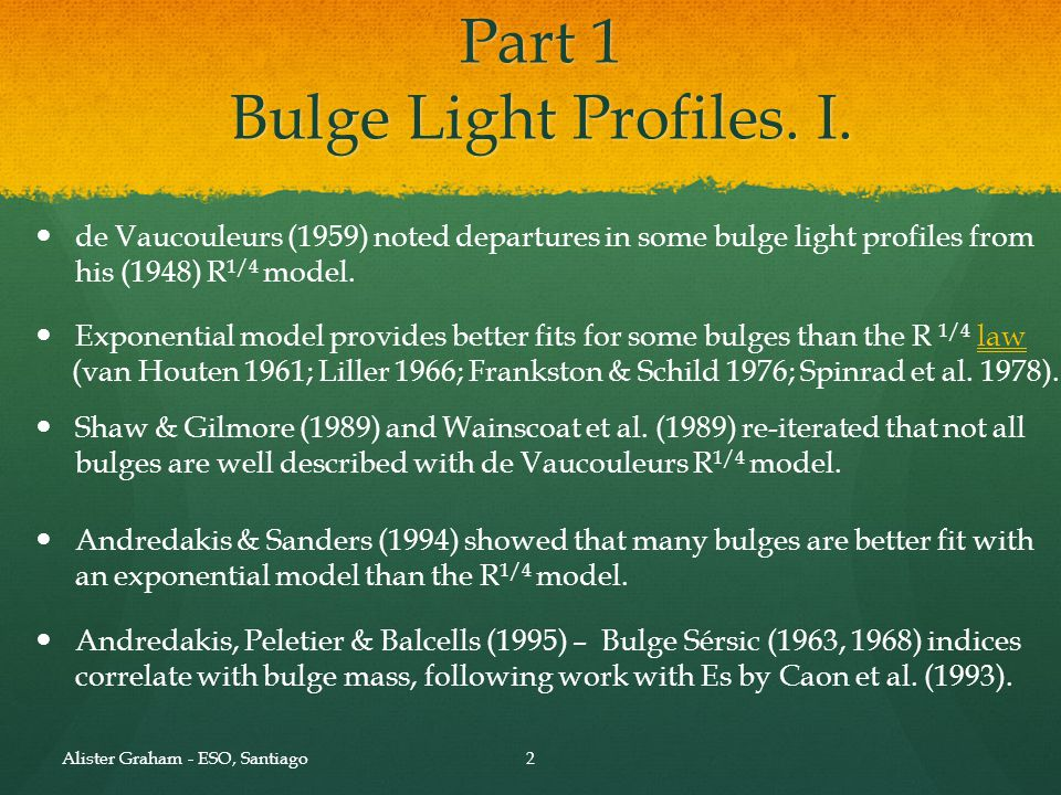 Part 1 Bulge Light Profiles. I. Andredakis, Peletier & Balcells (1995) – Bulge Sérsic (1963, 1968) indices correlate with bulge mass, following work w
