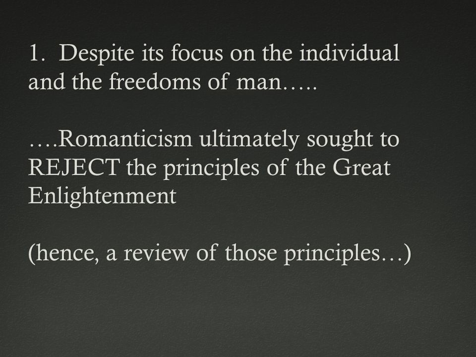 1. Despite its focus on the individual and the freedoms of man…..