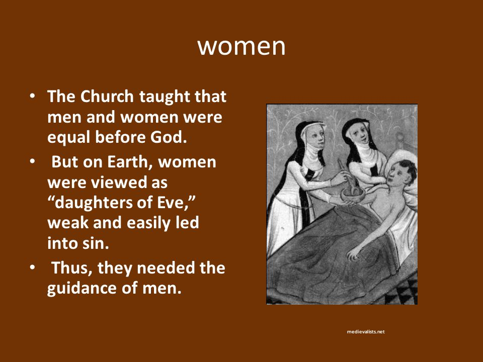 """women The Church taught that men and women were equal before God. But on Earth, women were viewed as """"daughters of Eve,"""" weak and easily led into sin."""
