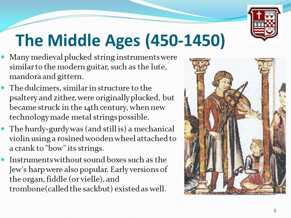 The Middle Ages (450-1450) Many medieval plucked string instruments were similar to the modern guitar, such as the lute, mandora and gittern. The dulc