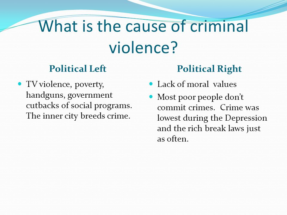 What is the cause of criminal violence? Political Left Political Right TV violence, poverty, handguns, government cutbacks of social programs. The inn