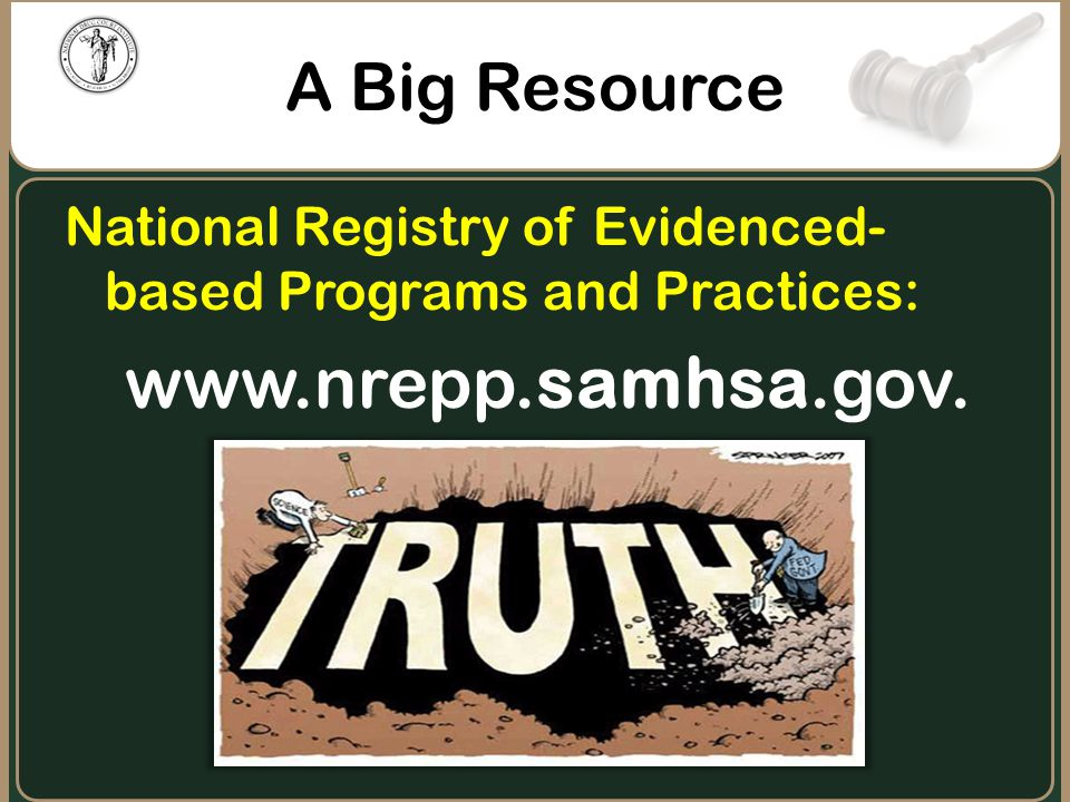 A Big Resource National Registry of Evidenced- based Programs and Practices: www.nrepp.samhsa.gov.