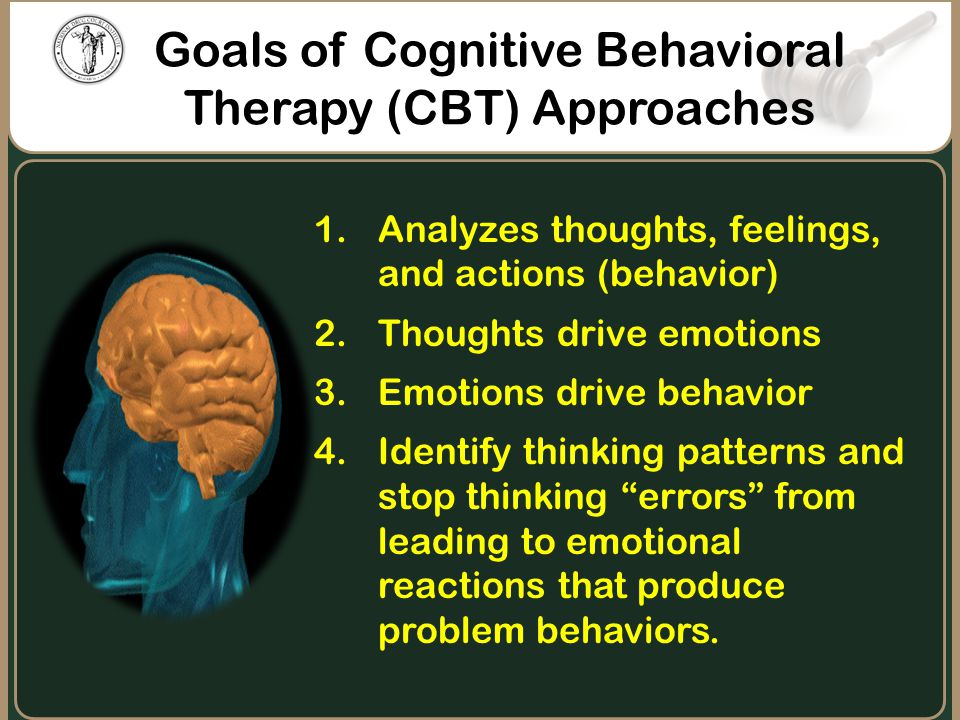 Goals of Cognitive Behavioral Therapy (CBT) Approaches 1.Analyzes thoughts, feelings, and actions (behavior) 2.Thoughts drive emotions 3.Emotions driv