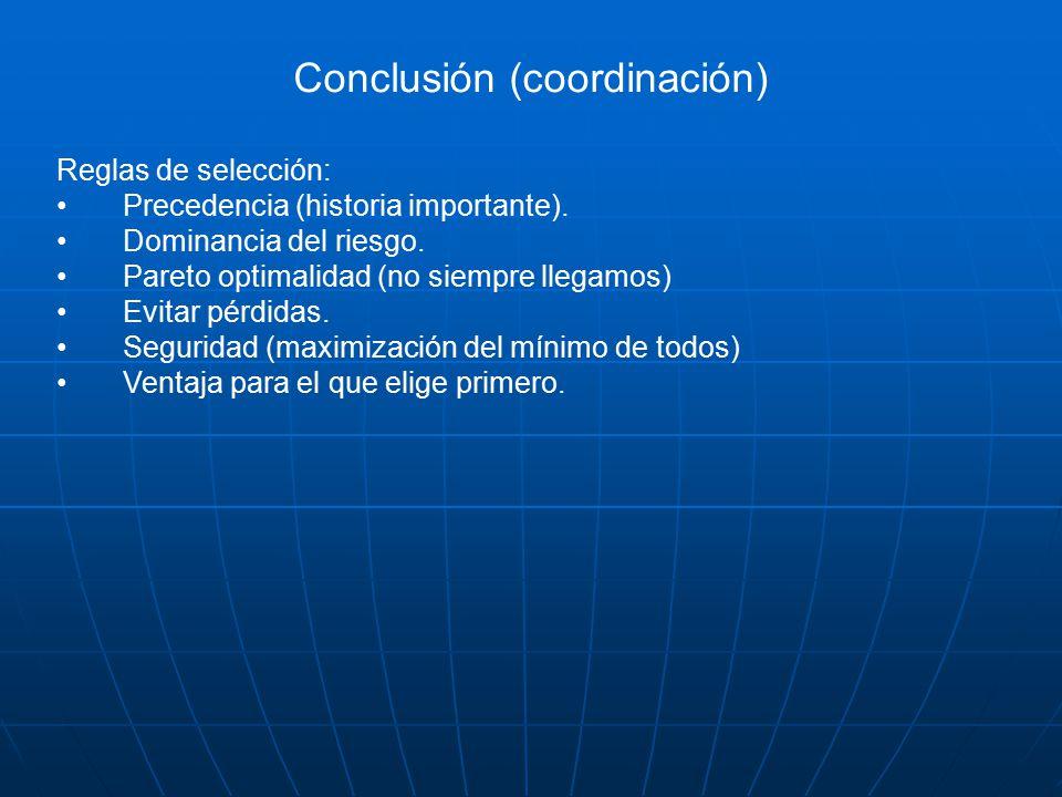 Conclusión (coordinación) Reglas de selección: Precedencia (historia importante).