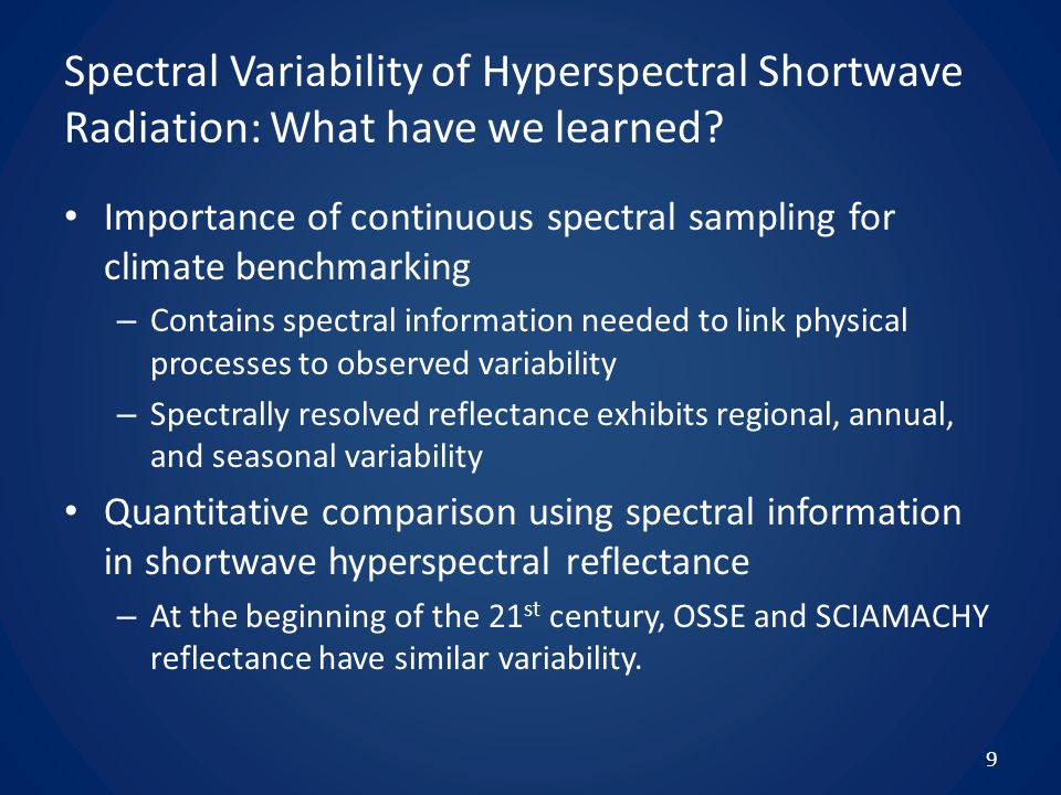 Spectral Variability of Hyperspectral Shortwave Radiation: What have we learned.