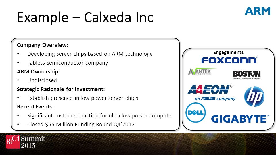 Example – Calxeda Inc Engagements Company Overview: Developing server chips based on ARM technology Fabless semiconductor company ARM Ownership: Undis
