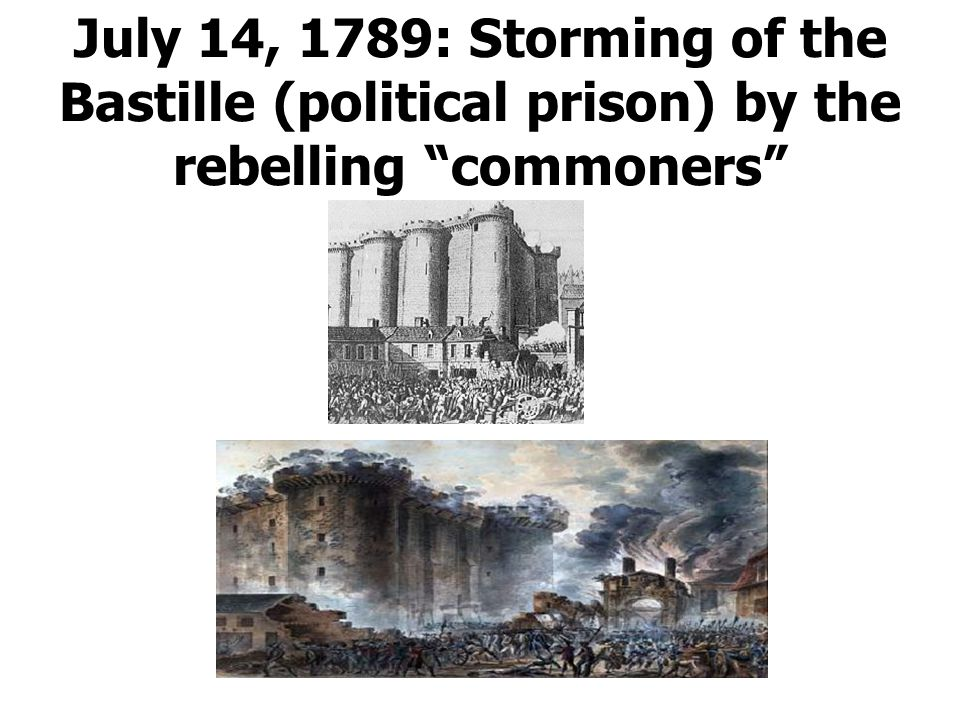 July 14, 1789: Storming of the Bastille (political prison) by the rebelling commoners