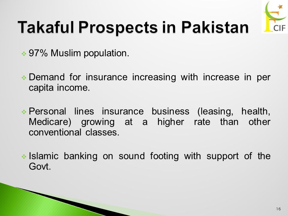  97% Muslim population.  Demand for insurance increasing with increase in per capita income.  Personal lines insurance business (leasing, health, M