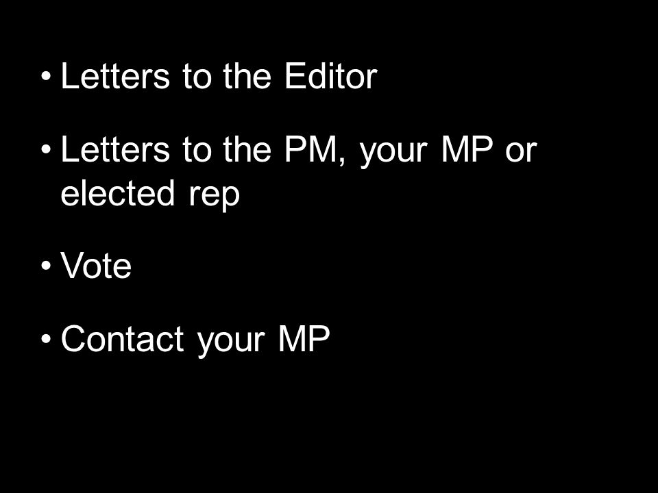 Letters to the Editor Letters to the PM, your MP or elected rep Vote Contact your MP