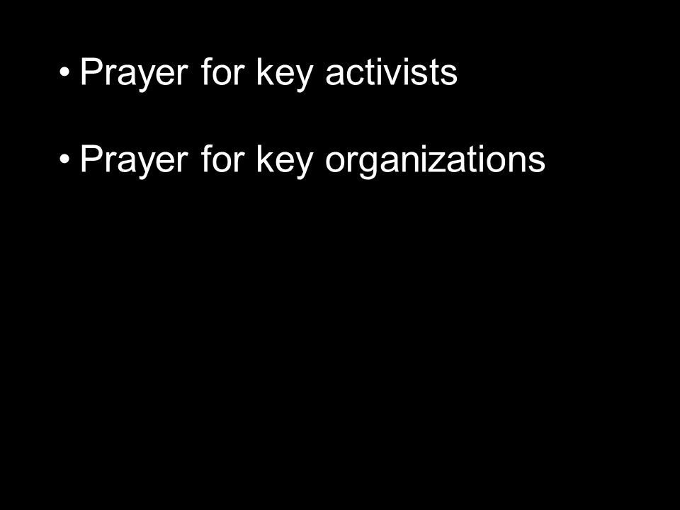 Prayer for key organizations