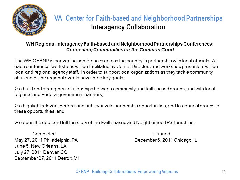 VA Center for Faith-based and Neighborhood Partnerships Interagency Collaboration WH Regional Interagency Faith-based and Neighborhood Partnerships Conferences: Connecting Communities for the Common Good The WH OFBNP is convening conferences across the country in partnership with local officials.