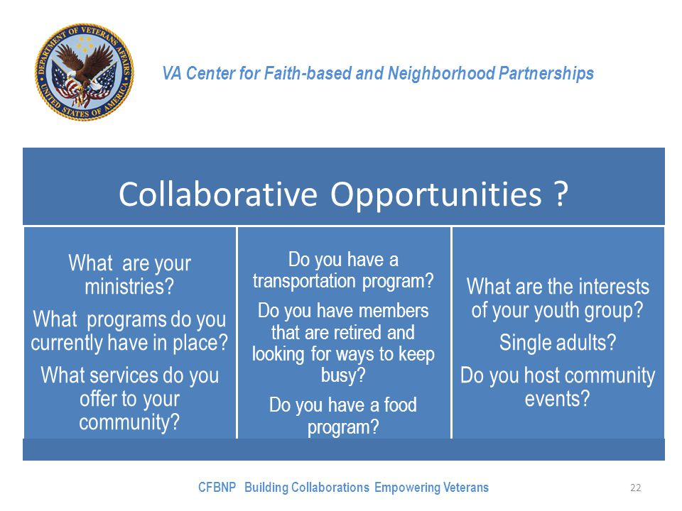 VA Center for Faith-based and Neighborhood Partnerships Collaborative Opportunities ? What are your ministries? What programs do you currently have in