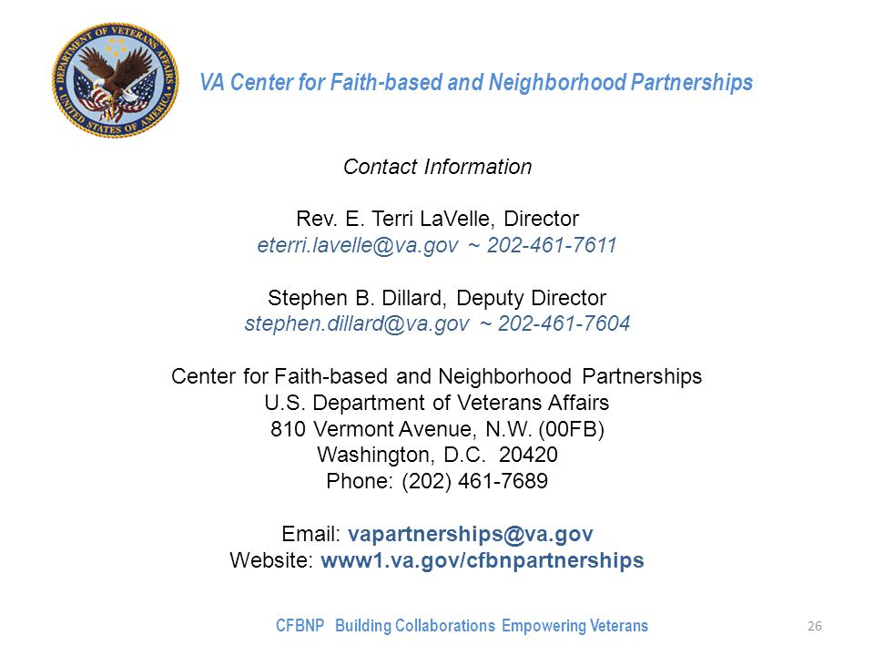 VA Center for Faith-based and Neighborhood Partnerships Contact Information Rev.
