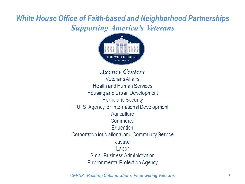 White House Office of Faith-based and Neighborhood Partnerships Supporting America's Veterans Agency Centers Veterans Affairs Health and Human Services Housing and Urban Development Homeland Security U.
