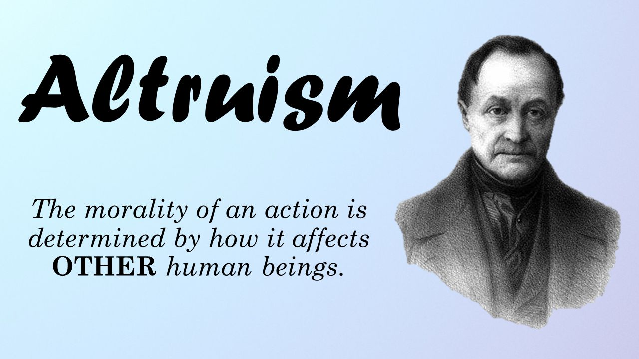 The morality of an action is determined by how it affects OTHER human beings. Altruism