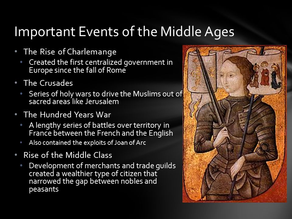 The Middle Ages, or Medieval Period, spans the time between the fall of the Roman empire(c400C.E.) and the beginning of the Renaissance (c1450C.E.) Vi