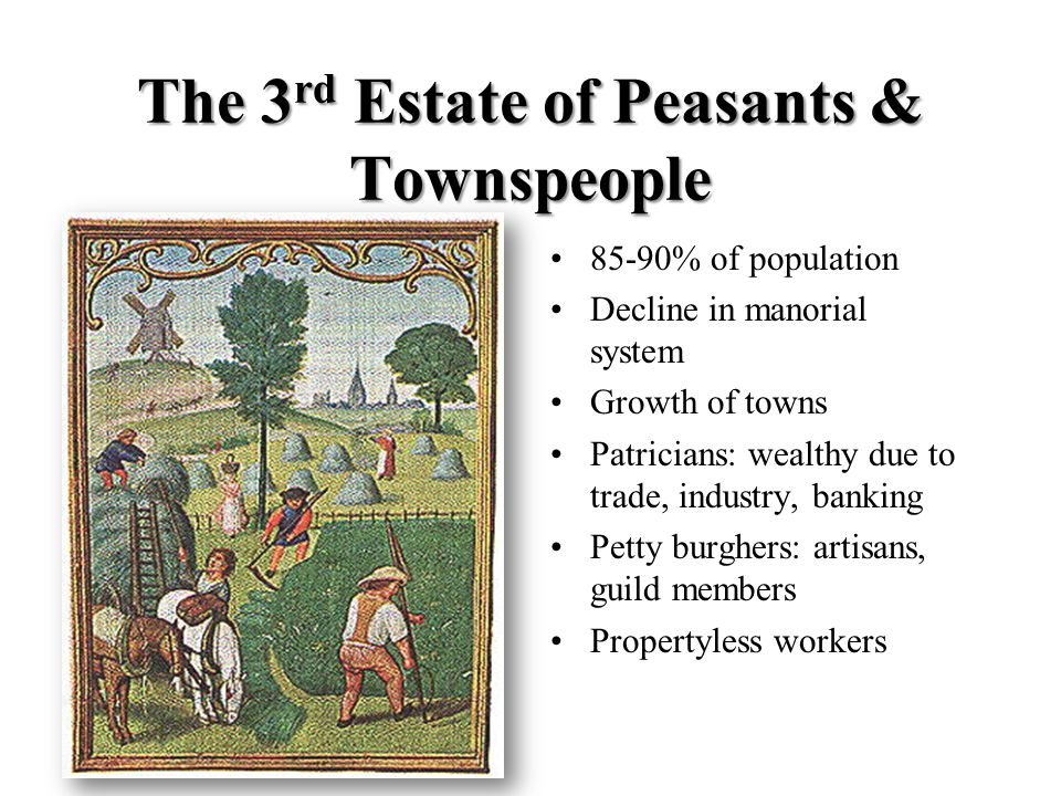 The 3 rd Estate of Peasants & Townspeople 85-90% of population Decline in manorial system Growth of towns Patricians: wealthy due to trade, industry, banking Petty burghers: artisans, guild members Propertyless workers