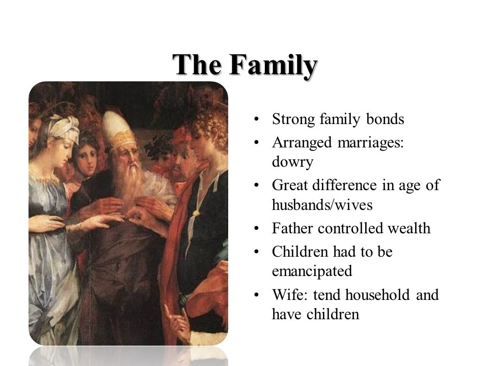 The Family Strong family bonds Arranged marriages: dowry Great difference in age of husbands/wives Father controlled wealth Children had to be emancipated Wife: tend household and have children