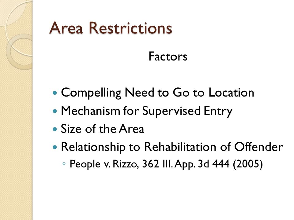 Area Restrictions Factors Compelling Need to Go to Location Mechanism for Supervised Entry Size of the Area Relationship to Rehabilitation of Offender