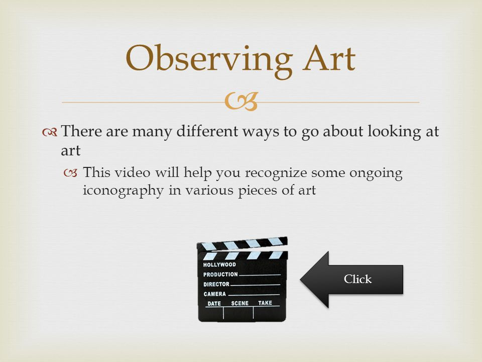   There are many different ways to go about looking at art  This video will help you recognize some ongoing iconography in various pieces of art Ob