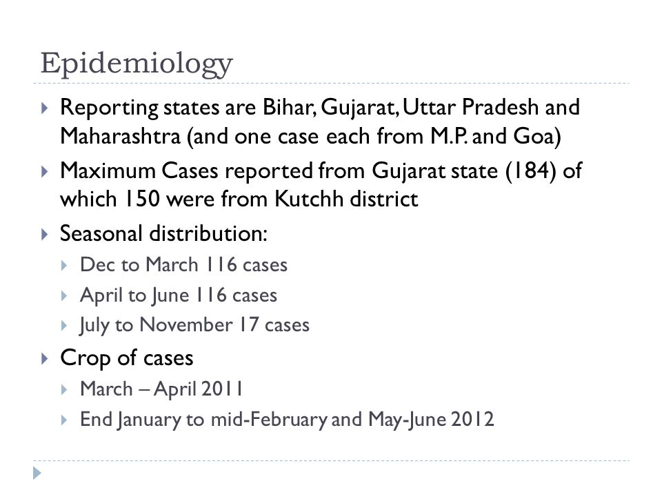 Epidemiology  Reporting states are Bihar, Gujarat, Uttar Pradesh and Maharashtra (and one case each from M.P. and Goa)  Maximum Cases reported from