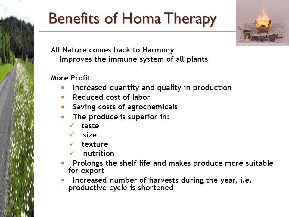 Benefits of Homa Therapy All Nature comes back to Harmony Improves the immune system of all plants More Profit:  Increased quantity and quality in production  Reduced cost of labor  Saving costs of agrochemicals  The produce is superior in: taste size texture nutrition  Prolongs the shelf life and makes produce more suitable for export  Increased number of harvests during the year, i.e.