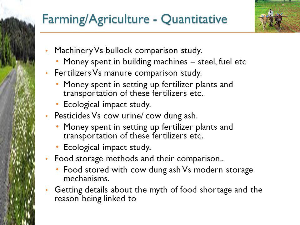 Farming/Agriculture - Quantitative Machinery Vs bullock comparison study.
