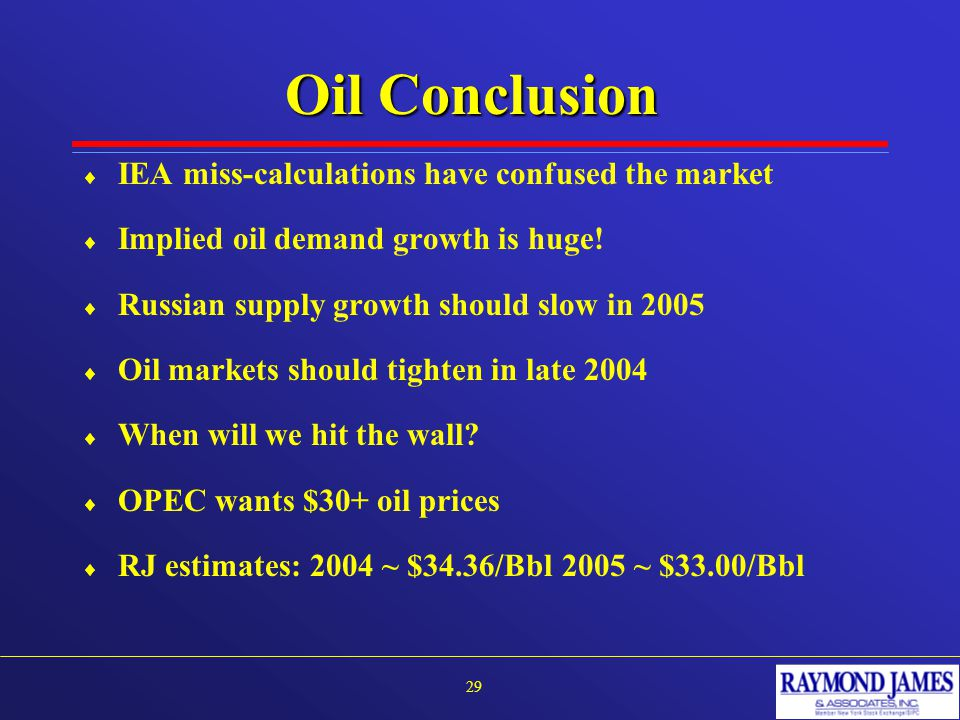 Oil Conclusion  IEA miss-calculations have confused the market  Implied oil demand growth is huge.