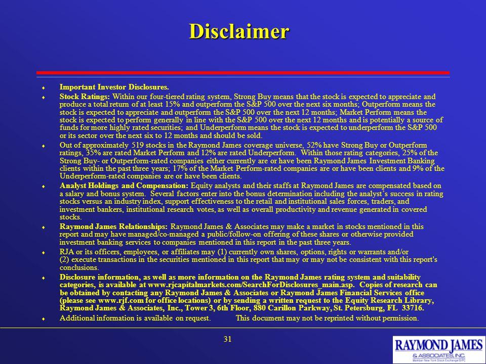 Disclaimer  Important Investor Disclosures.