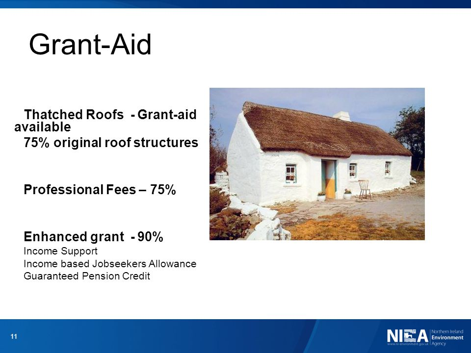 Grant-Aid Thatched Roofs - Grant-aid available 75% original roof structures Professional Fees – 75% Enhanced grant - 90% Income Support Income based Jobseekers Allowance Guaranteed Pension Credit 11