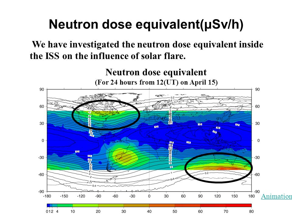 Neutron dose equivalent(μSv/h) We have investigated the neutron dose equivalent inside the ISS on the influence of solar flare. Neutron dose equivalen